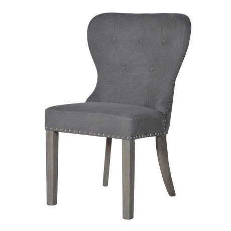 Button Back Grey Dining Chair