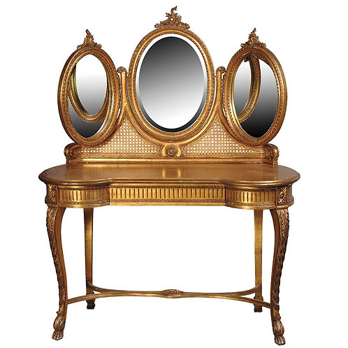 Versailles Dressing Table with Triple Mirror Top