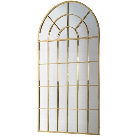 Large Gold Windowpane Mirror