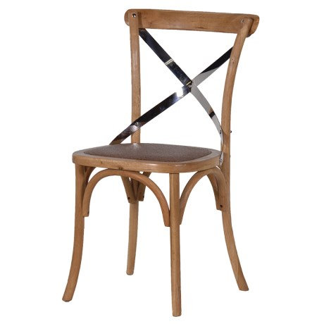 Natural Bentwood And Steel X-Back Dining Chair