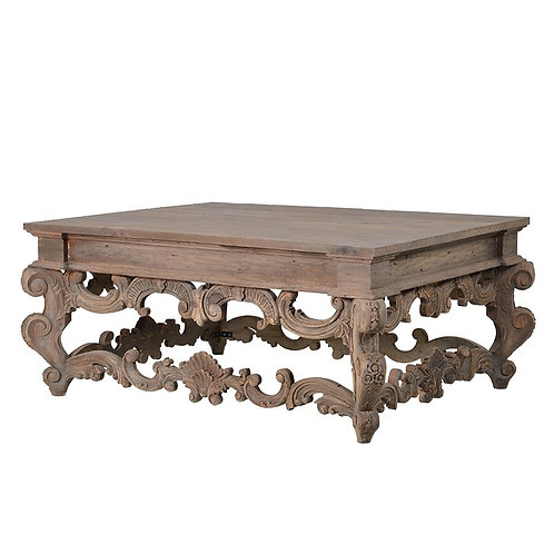 Provincial Reclaimed Pine Carved Coffee Table
