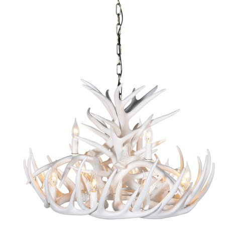 Large 2 Tier White Antler Chandelier