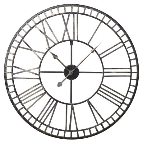 Iron Roman Numerals Skeleton Wall Clock
