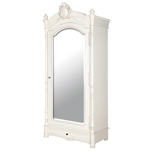 Louis Philippe Mirrored Armoire with Drawer Base