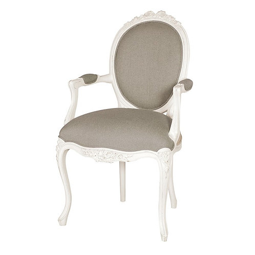 Louis Philippe Ribbon Armchair Linen Upholstered