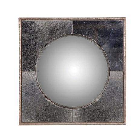 Small Square Framed Round Mirror