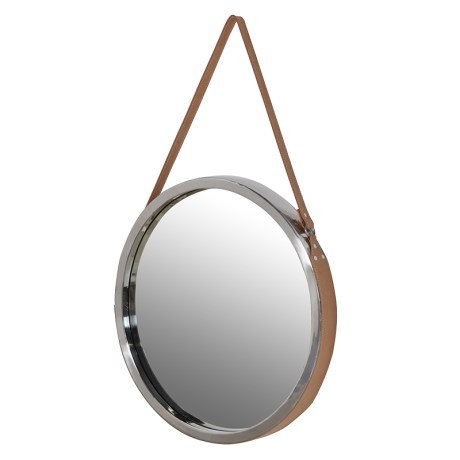 Round Hanging Mirror With Leather Strap