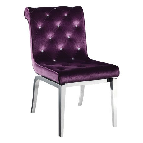 Purple And Chrome Dining Chair With Jewelled Buttons