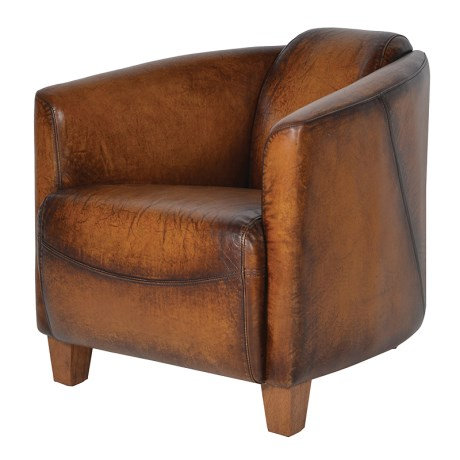 Brown Leather Rocket Chair