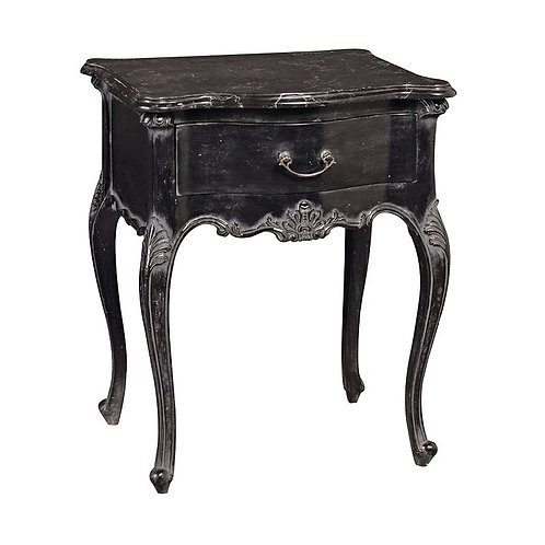 Coco Noir Bedside Table with Marble Top