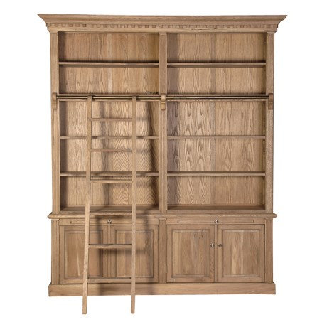 Weathered Oak Library Bookcase with Ladder
