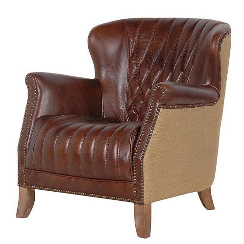 Brown Leather Armchair With Buttons