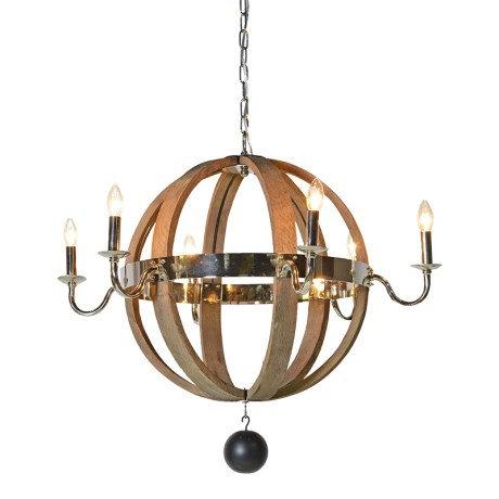 Wood/Nickel Globe Chandelier