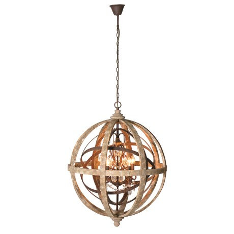 Wood & Metal Globe Chandelier With Crystals