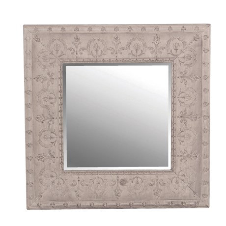 Square Grey Embossed Metal Mirror