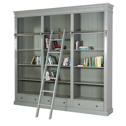 Shaker Grey Library Bookcase With Ladder