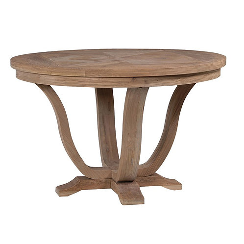 Rustic Pine Parquet Style Round Dining Table
