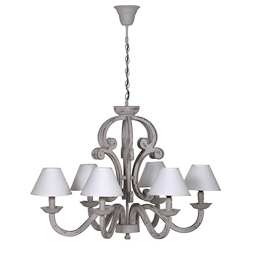Grey Chandelier With 6 Cream Shades