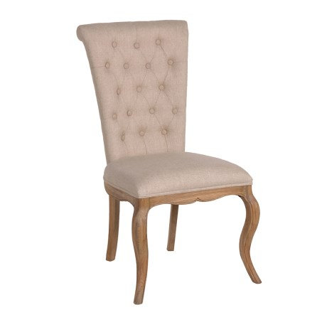 Linen & Weathered Oak Dining Chair