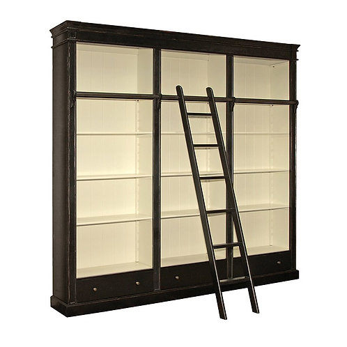 Shaker Black Library Bookcase with Ladder