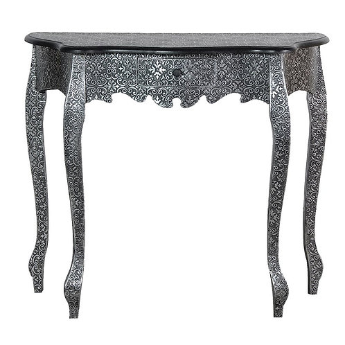 Silver Embossed Small Hall Table
