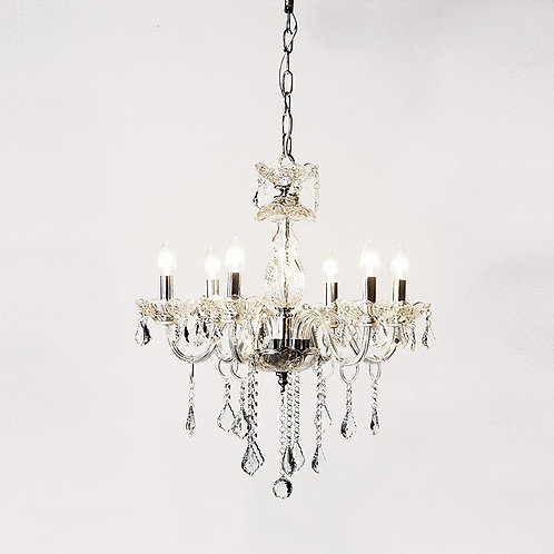 Clear Glass 6 Arm Chandelier