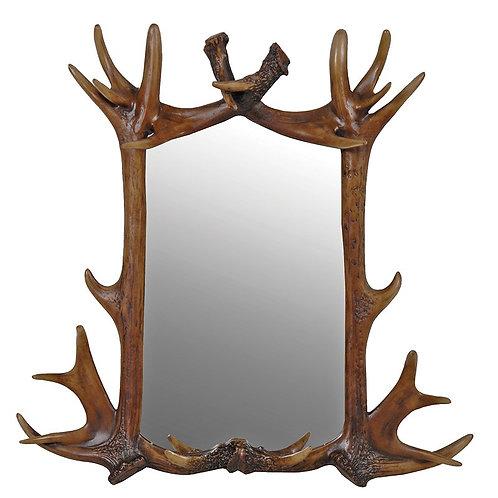 Brown Finish Antler Mirror