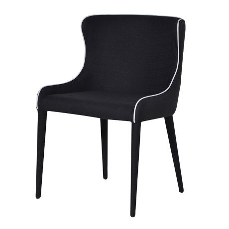 Black Fabric Chair With White Piping