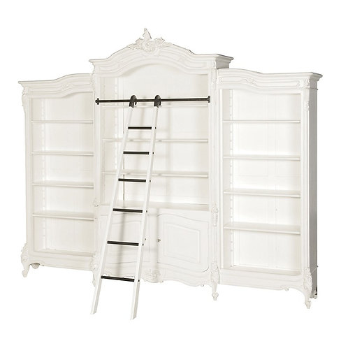 Louis Philippe Triple Arch Bookcase with Ladder