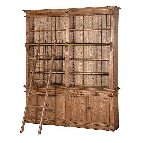 Antique Oak Library Bookcase with Ladder