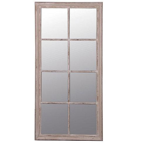Large Taupe Windowpane Mirror
