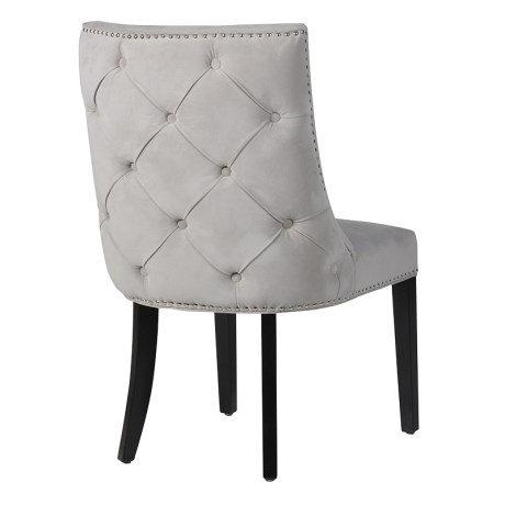 Grey Chrome Stud Button Chair