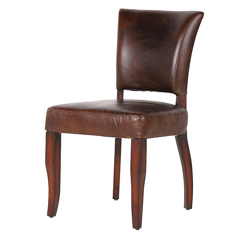 Brown Leather & Linen Dining Chair