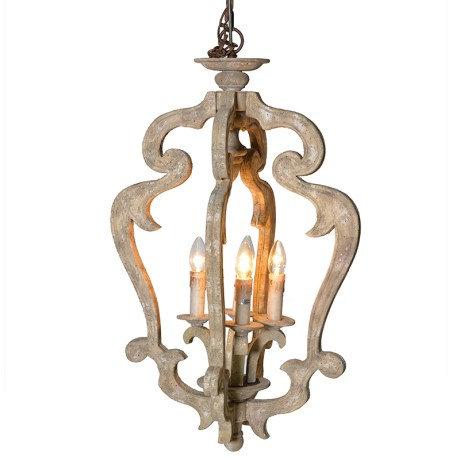Wood 4 Light Chandelier