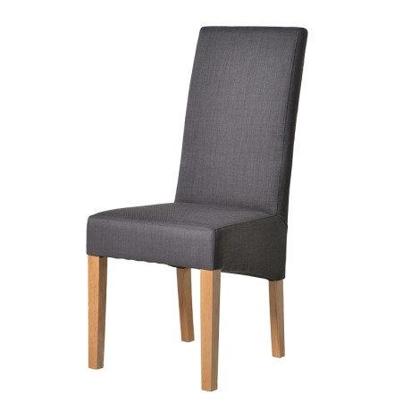 Dark Grey Tall Back Dining Chair With Oak Legs