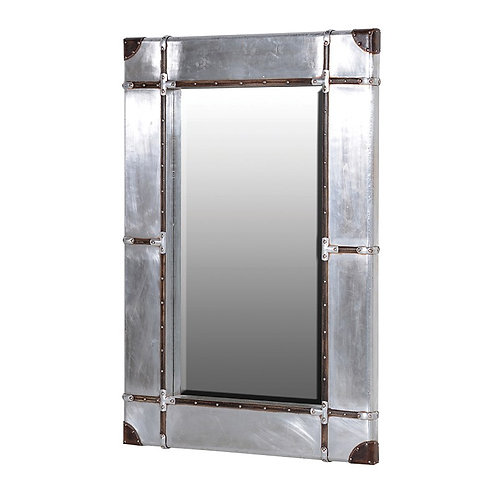 Silver Strapped Frame Mirror