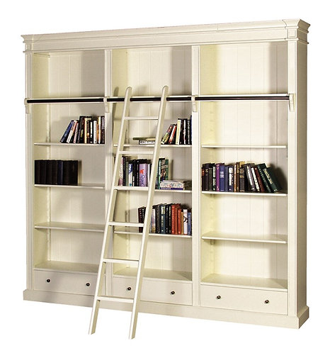 Shaker Cream Library Bookcase with Ladder