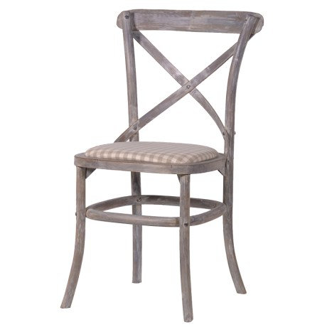 Belfort X-Back Dining Chair With Check Seat Pad