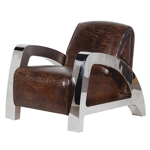 Antique Italian Leather & Steel A-Frame Armchair