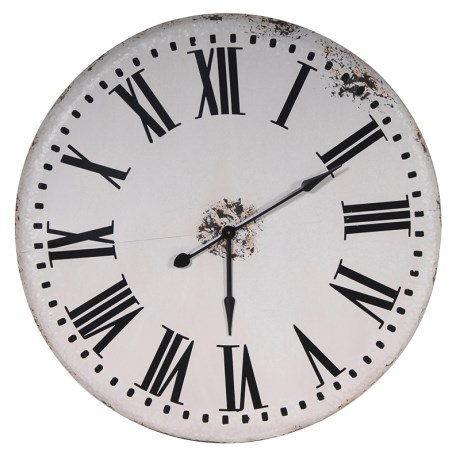 Large White Distressed Wall Clock