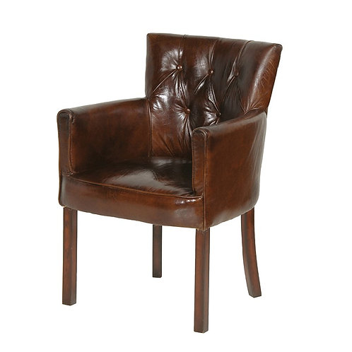 Brown Leather Bijoux Club Chair