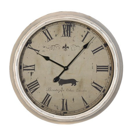 Large White Metal Dog Clock