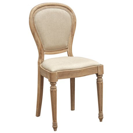 Weathered Oak Linen Dining Chair
