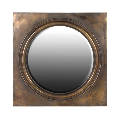 Antiqued Finish Round Mirror In Square Frame