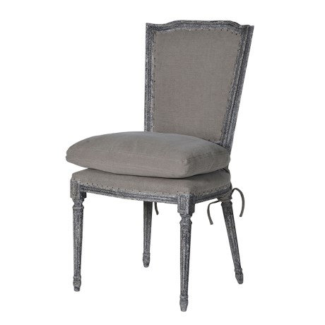 Grey French Fabric Dining Chair