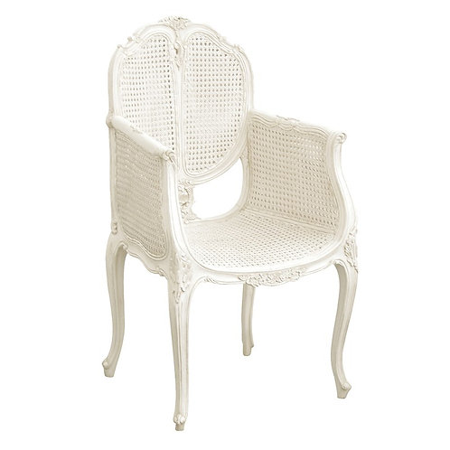 Louis Philippe White Painted French Chair with Rattan
