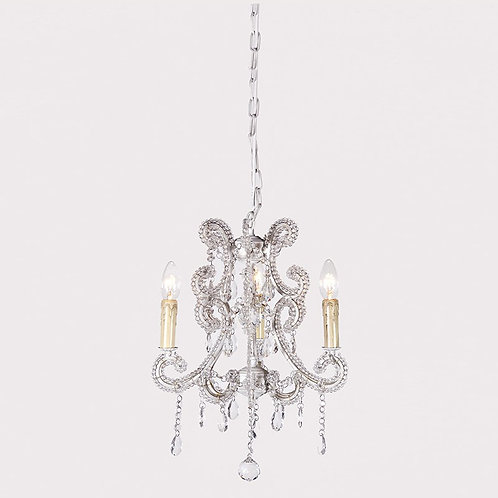 Antiqued White Glass Chandelier