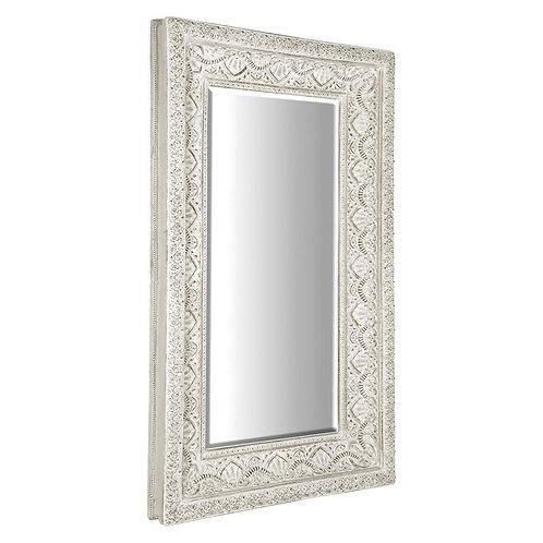 Large White Embossed Mirror