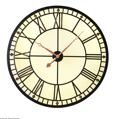 Lit Metal Round Wall Clock