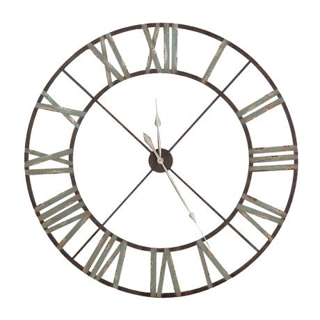 Large Aged Wrought Iron Skeleton Clock